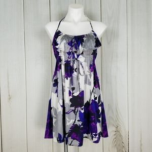 Guess by Marciano Purple Floral Silk Halter Dress
